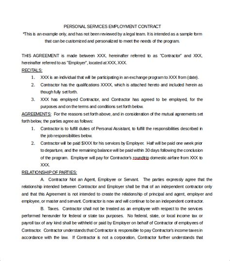 Personal Services Agreement Template by Service Contract Template 9 Free Documents In