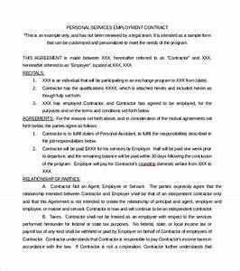 service contract template 9 download free documents in With personal services agreement template