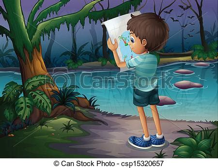 boy   map standing   middle   forest