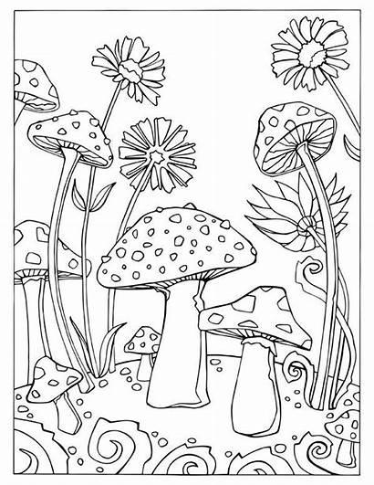 Coloring Pages Mushroom Gel Mushrooms Adult Pen