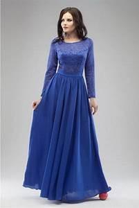 Cobalt Blue Evening Dress Maxi Wedding Lace Dress Floor
