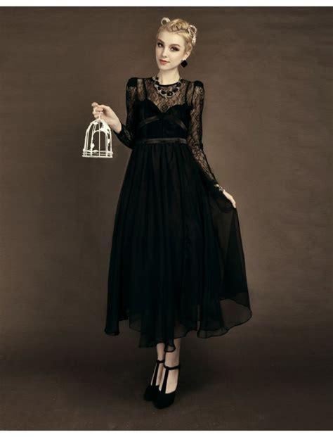 Black Long Sleeves Vintage Style Prom Dress
