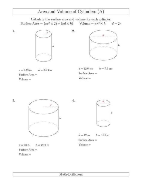 Volume Of Cylinder Worksheet Homeschooldressagecom