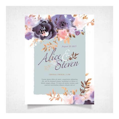 wedding card  purple flowers vector premium