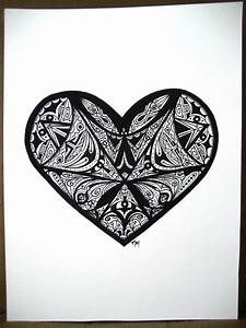 Heart Marker Drawing Abstract Lines 9 x 12 by ...