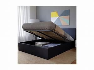 Conforama Lit Sommier : lit coffre barcelona 140x200 1 sommier noir 035316z ~ Melissatoandfro.com Idées de Décoration