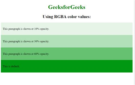 set  opacity   background color    text  css geeksforgeeks