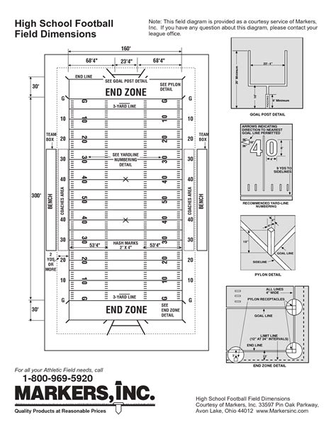 high school  american football field dimensions pictures