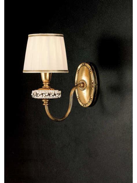 Applique Oro by Applique Classico 1 Luce Ferro Battuto Porcellana Foglia