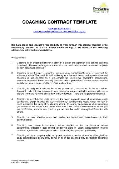 coaching contract templates ms word google docs