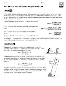simple machines mechanical advantage worksheet wiildcreative