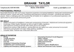 resume format for electrical project engineer jobs electrician cv sle
