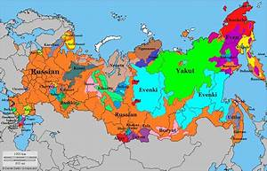 Map showing different languages spoken in Russia [1024 ...