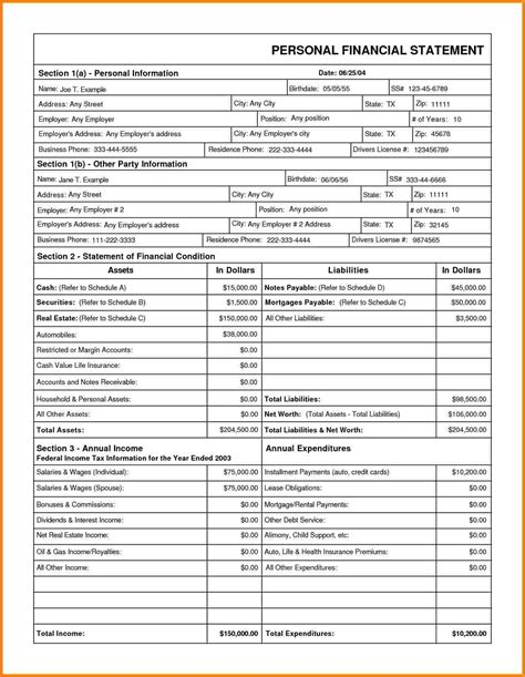Financial Statement Template 9 Downloadable Personal Financial Statement