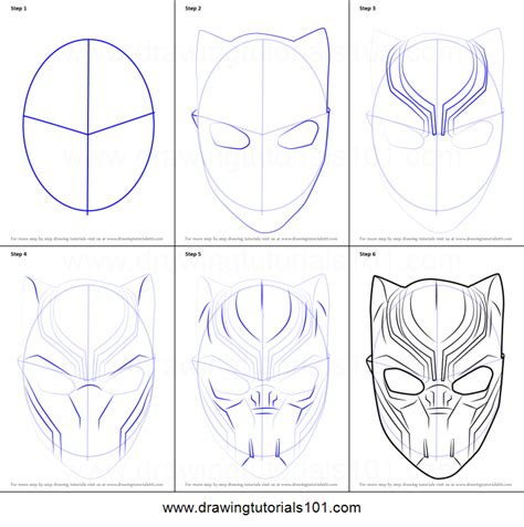black panther mask template how to draw black panther mask printable step by step drawing sheet drawingtutorials101
