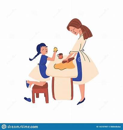 Mom Teaches Flat Child Vektors Flache Unterrichtet