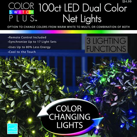color switch plus dual color changing led net christmas lights with 3 functions 100 ct shop