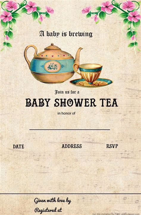Free Printable Tea Party Baby Shower Invitation Template