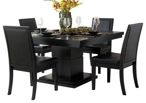 Modern Brown Rug by Cicero 5 Piece Square Pedestal Dining Room Set Black
