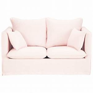 canape 2 places fixe lin rose pale timothee maisons du monde With canapé 2 places rose