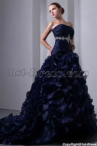 special navy blue organza ruffled bridal gown 2014 corset With navy blue wedding dresses