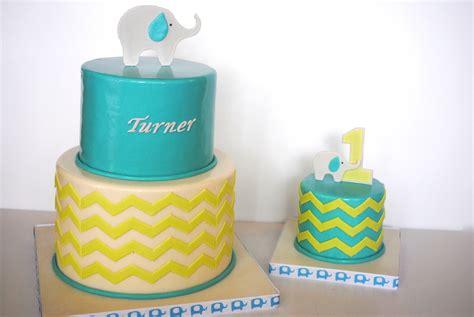 birthday elephantchevron cake smash cake