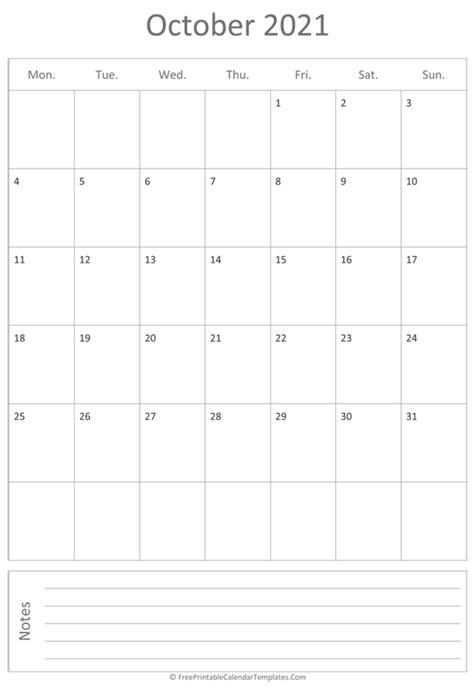 printable october calendar  vertical