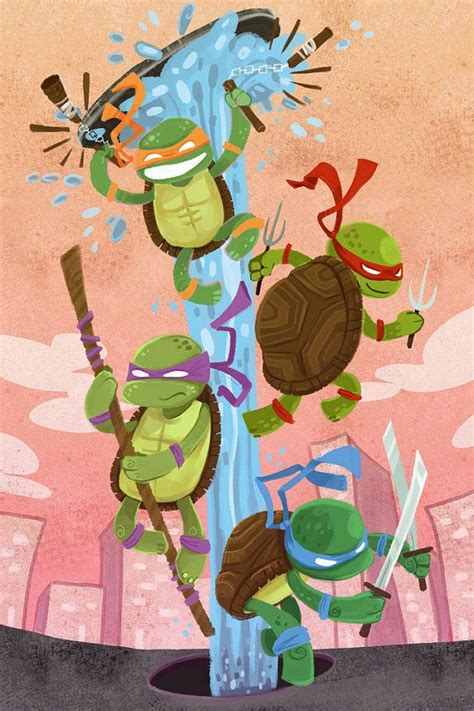 Turtle Power 8x12 nostalgia art print Tortugas ninjas