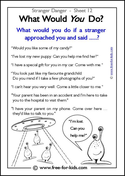 teaching stranger danger to preschoolers responsibility activity sheets more danger 462