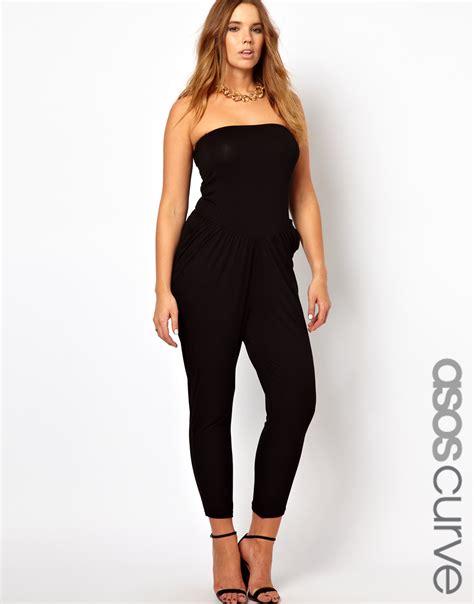 asos jumpsuit asos curve exclusive bandeau jumpsuit in black lyst