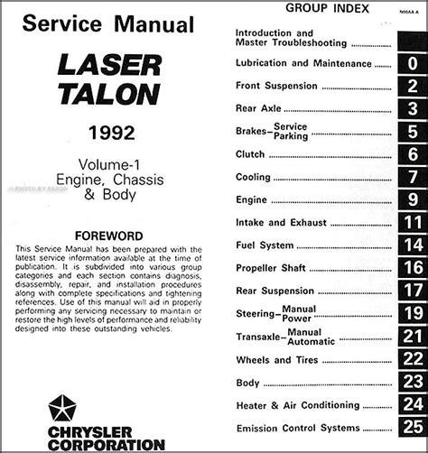 service and repair manuals 1992 eagle premier free book repair manuals 1992 plymouth laser eagle talon shop manual set 92 original repair service ebay