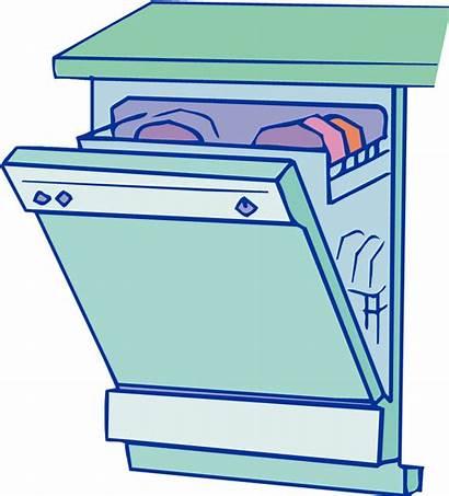Dishwasher Clip Clipart Icon Washing Cartoon Dishes