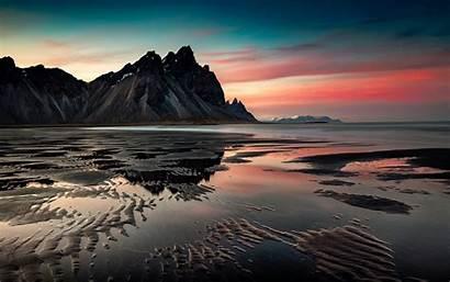 Desktop Sunset Sea Mountains Coast Sand 2560