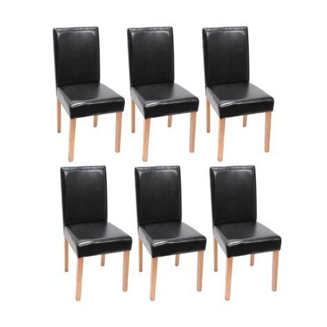 lot de 6 chaises de salle a manger lot de 6 chaises de salle 224 manger simili cuir noir pieds clairs cds04245 d 233 coshop26