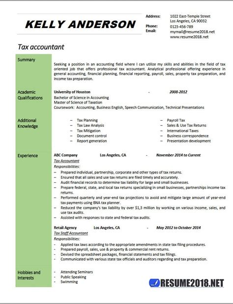 Tax Accountant Resume by Tax Accountant Resume Exle 2018 Resume 2018