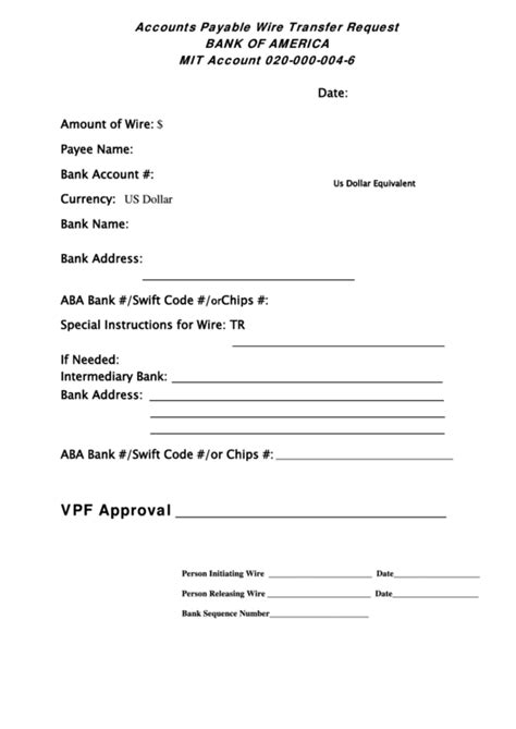 accounts payable wire transfer request form bank