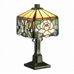 Small Mini Sized Tiffany Table Lamp, Art Nouveau Floral