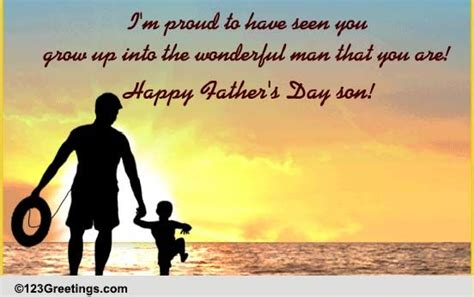 Happy birthday to my dad in heaven. Father's Day For Your Son Cards, Free Father's Day For ...
