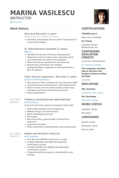 recruiter resume sles visualcv resume sles database