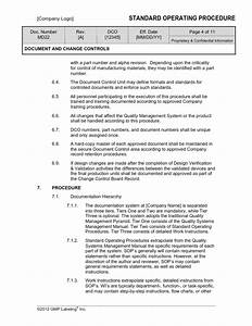 document change controls sop template md22 gmp qsr With warehouse sop template