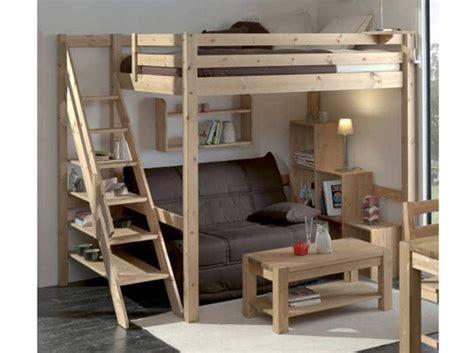 lit mezzanine 2 places avec canap lit mezzanine 2 places idéale dans une chambre