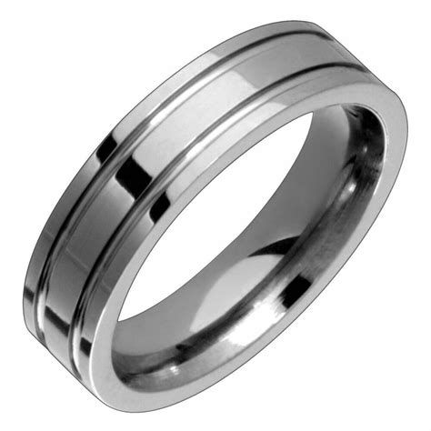 titanium engagement durable double groove ring 5mm wide wedding band for unisex ebay