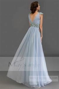 robe longue bleu avec manchette brodee maysange With robe de cocktail combiné avec bracelet manchette argent
