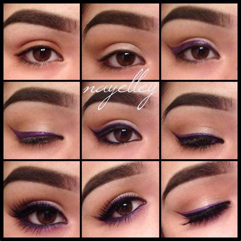 makeup  nayelley brown eye girl series purple double winged eyeliner