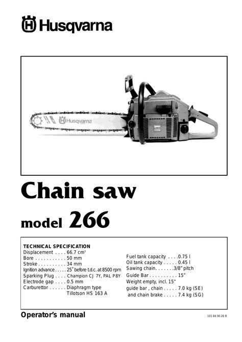 Husky Saw Thd750l Manual by Husqvarna 266 User Manual 8 Pages