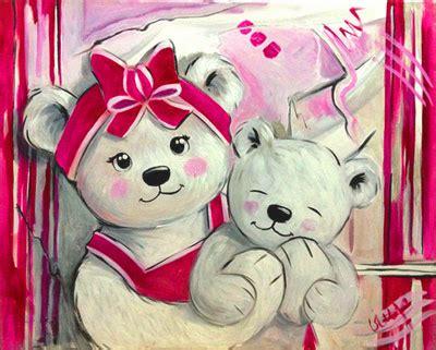 deco chambre bb fille peinture ourson fille fuchia vente tableau ourson pour
