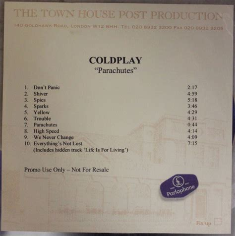 Coldplay Parachutes 2000 Cdr Discogs