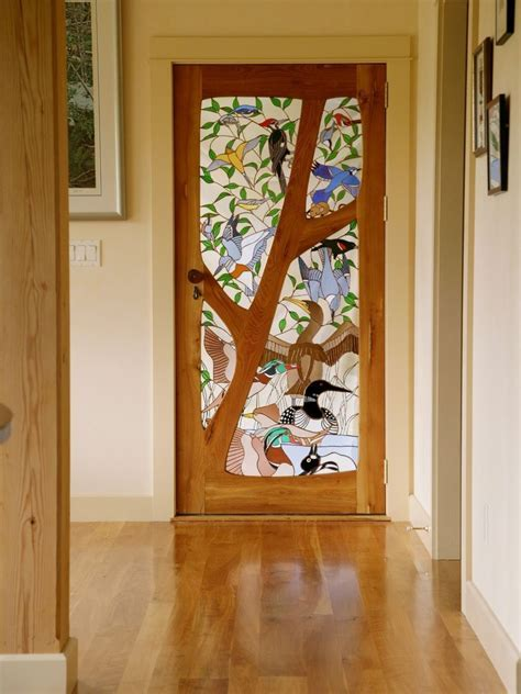 Custom Stained Glass Door   Birds by Janet Redfield