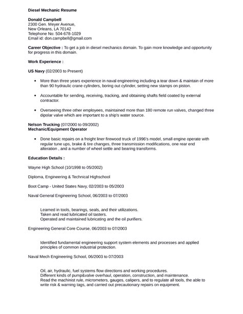 professional diesel mechanic resume template