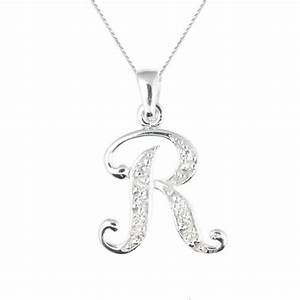 Initial letter r cubic zirconia sterling silver necklace for Letter r necklace silver